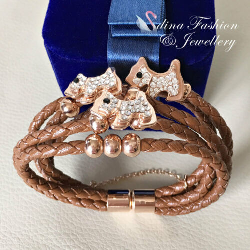 Fashion Leather Cord With 18K Rose Gold Plated 5 Coffee Bands Row Dog Bracelet