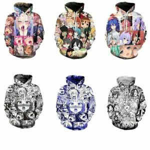 Women Men/'s Hoodie Ahegao Emoji Face Adult Anime 3D Print Pullover Jumper Tops