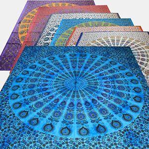 COUVRE-LIT-COUVERTURE-paons-Mandala-Inde-tapisserie-Decoration-murale-tissu-deco