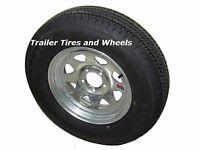 2 St185/80r13 Lrd Kk Radial Trailer Tires On 13 5 Lug Galvanized Spoke Wheels