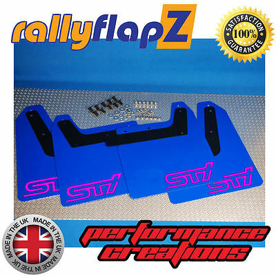 04-08 rallyflapZ SUBARU FORESTER STi 2nd Gen Mud Flaps Black STi White 4mm PVC