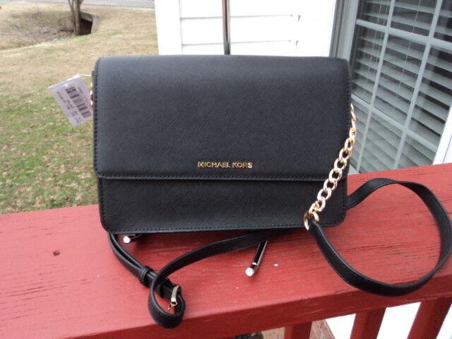 71c4e06c9516 Michael Kors Daniela Saffiano Leather Crossbody Black Gold Chain Link Bag  for sale online | eBay