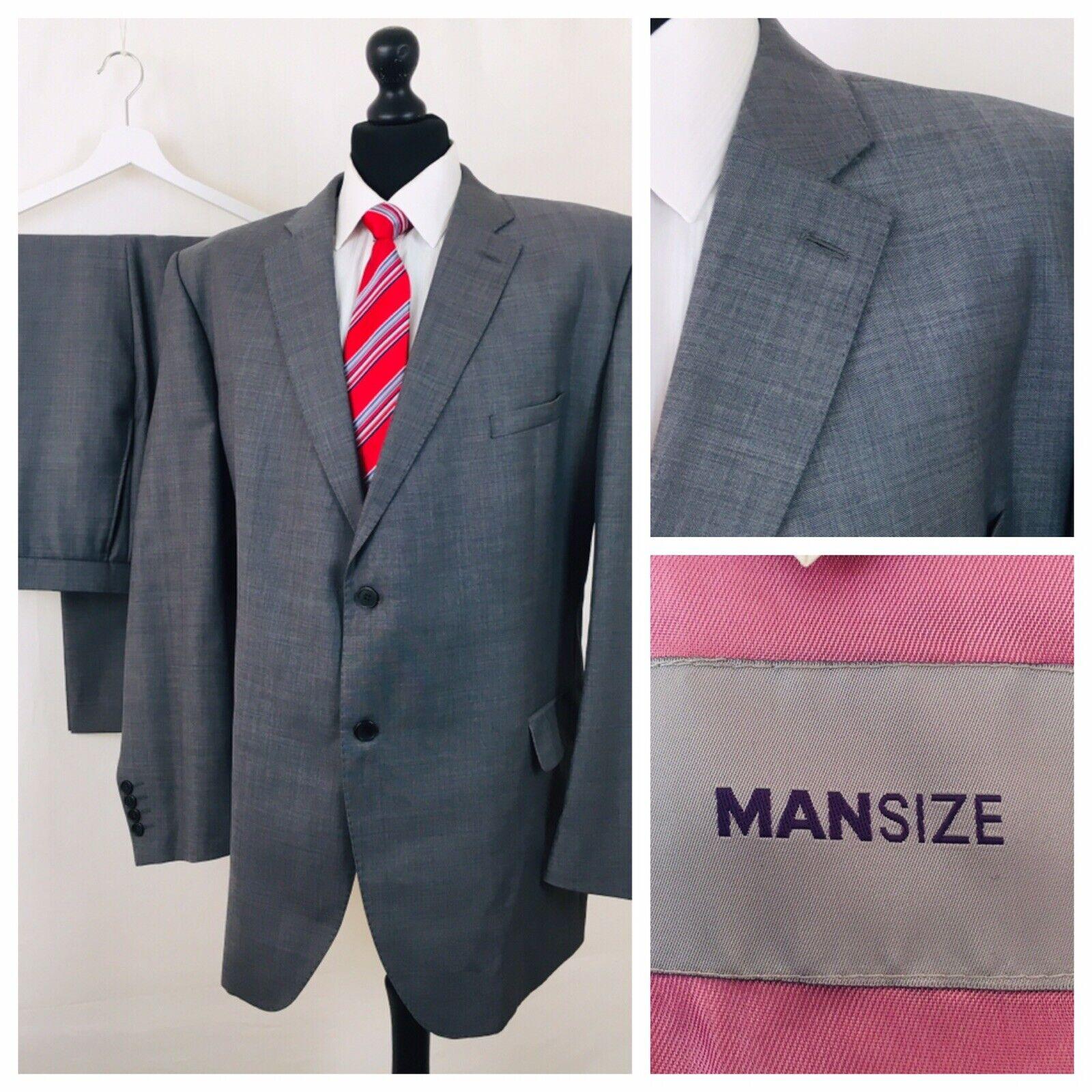 Man Size Mens Suit 52R 38W 31L Grey Wool Blend Formal Business  YE236