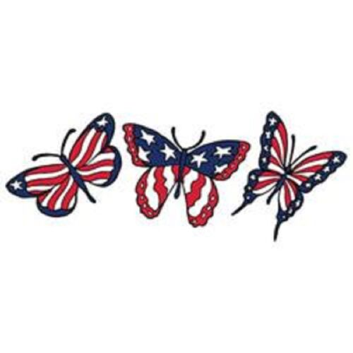 3 Butterfly American Flag Women/'s T-shirt All Sizes 149