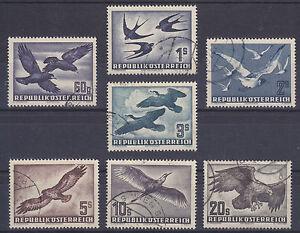Austria-Sc-C54-C60-used-1950-1953-Birds-Air-Post-cplt-F-VF