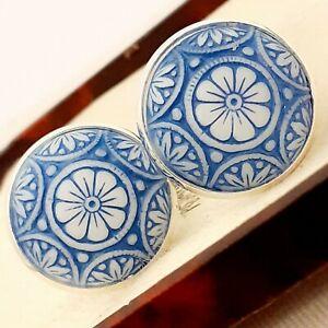 Vintage-Preciosa-Blue-White-Mosaic-Glass-Large-Round-Silvertone-Cufflinks