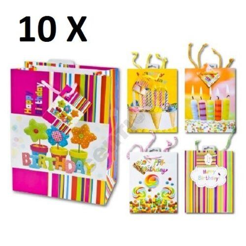 Geschenktasche MEDIUM 23x18x10 cm Geburtstag 10 Stück Geschenktüte