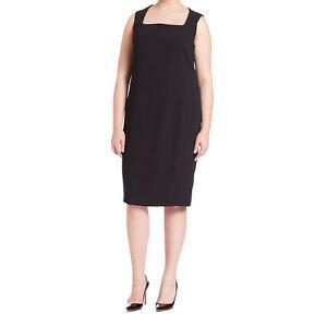 e889cd6849b MARINA RINALDI Women's Black Delta Square Neckline Shift Dress $470 ...