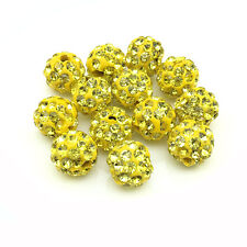 20Pcs Lemon Yellow Micro Pave Clay Crystal Disco Bracelet Spacer Shamballa Beads