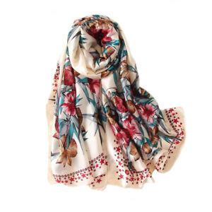 Foulard-180-X-90cm-100-Soie-motif-floral-Silk-seide-scarf-shawl