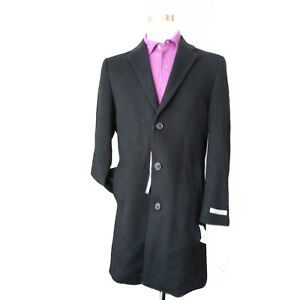 Kenneth Cole New York Men Size 38 Black Coat MORETTI Wool Long MSRP $350