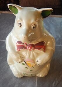 VINTAGE OLD  MCCOY POTTERY BEAR COOKIE IN VEST JAR