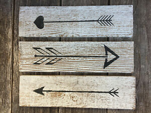 Set-3-RUSTIC-ARROWS-Wall-Decor-Hanging-Signs-Farmhouse-Country-Reclaimed-Wood-HP