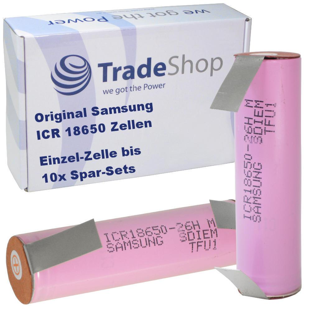 Samsung Li-Ion Zelle Akku ICR18650-26J 2600mAh 3,6V/3,7V mit U-Lötfahne im Set