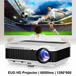 6000lm HD Videoprojektor Beamer 1080p Film HDMI*2 USB*2 VGA Xbox Spiel 7500:1 TV