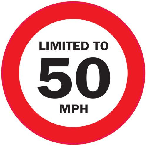 h 125mm restriction de vitesse du véhicule autocollant-Van 5 x limitée à 50 miles waggon camion