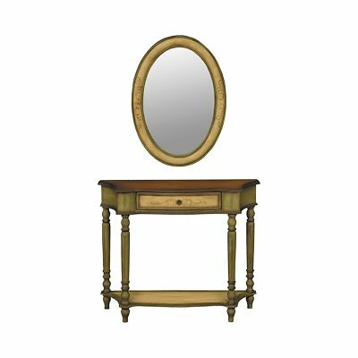New French European Painted Scroll Wood Carved Console Table With Mirror Set 2 Ebay