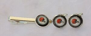 Cleveland-Browns-Cuff-Link-amp-Tie-Clip-Set-made-from-Football-Trading-Cards
