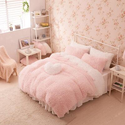 Pink White Girls Cashmere Wool Velvet Ruffle Duvet Cover Bedding Sets