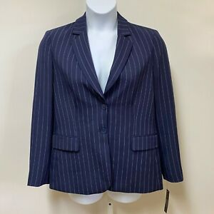 Tahari ASL Women's Navy Pink Striped Blazer Jacket Size 12 Two Button Closure