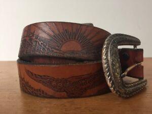 hand tooled belt brown leather belt hand tooled Vintage belt hippy belt vintage clothing 34 to 39 brass buckle 1960s belt