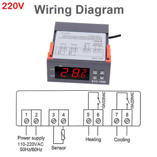 12V 24V 110V 220V STC-1000 Digital Temperature Controller Thermostat NEW ST0546