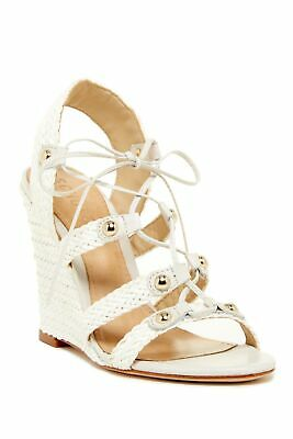 Schutz jayne pearl White woven leather wedge heel lace up sling back sandals
