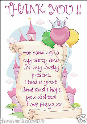 PERSONALISED GIRLS PRINCESS CASTLE PARTY / BIRTHDAY THANK YOU CARDS