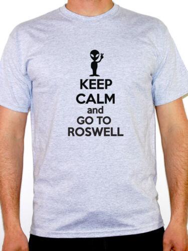 Alien T-shirt homme à thème Restez calme et aller à roswell-Sci Fi science fiction