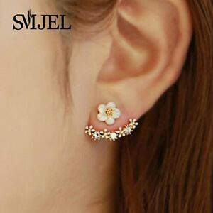 Earrings-Stud-Cherry-Flower-Jewelry-Womens-Blossom-Blossoms-Silver-Elegant-New