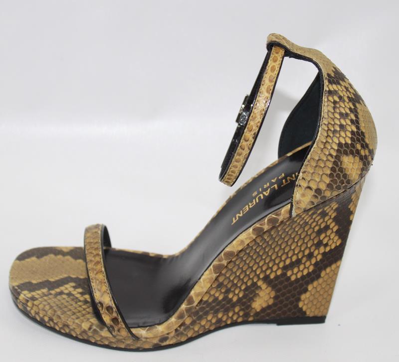 AUTH $1095 YSL Saint Laurent Women Leather Wedge Sandal Shoes 38