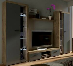 Details zu Wohnwand Rosa XL Wohnzimmer-Set Wohnmöbel Weiß Sonoma  LED-Beleuchtung Modern