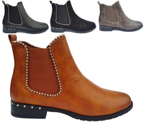 Femme Femmes Chelsea Diamante Cheville Bottes Rivets Fermeture Éclair Plates Décontracté Chaussures Taille 3-8