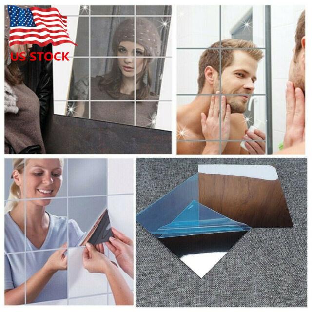 Mirror Tile Wall Sticker Square Self-Adhesive Home Bathroom Decor Stick On Art Y