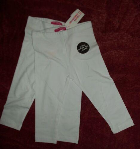 Filles 2 pack blanc riche coton leggings