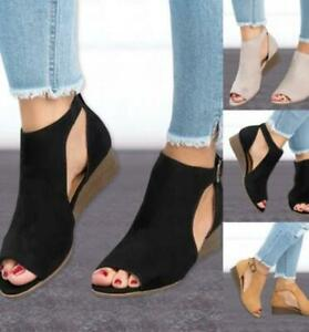 Women-Suede-Wedge-Sandals-Summer-Ladies-Ankle-Strap-Buckle-Peep-Toe-Casual-Shoes