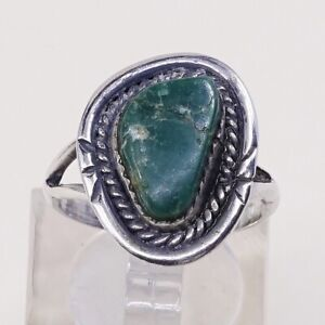 Sz-7-5-Vtg-Native-American-Navajo-Handmade-Sterling-925-Silver-W-Turquoise-Ring