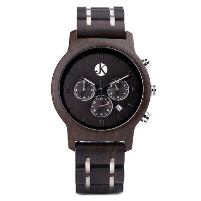 Kim Johanson Holz Armbanduhr *air Force* Aus Ebenholz Gliederarmband Quarz Uhr