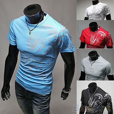 Hot Stylish Men Tattoos Printed Short Sleeve Crew Neck Tee T-Shirt Slim Fit Tops