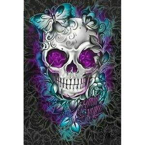 Full-Square-Drill-5D-Diy-Diamond-Painting-034-Flower-Skull-034-Embroidery-Cross-Sti-G8