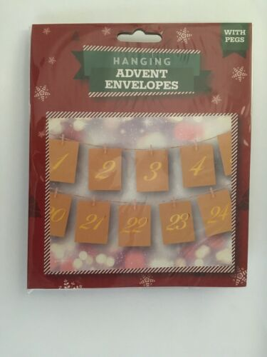 Christmas Rustic Paper Envelopes Hanging  Advent Calendar With Pegs /& String New