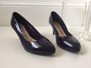 M-amp-S-Purple-Patent-Faux-Leather-Court-Shoes-Size-3-5-Wide-Fit-Vegan-Mid-Heel
