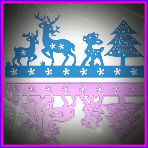 Cardmaking árbol de Navidad Hermosa Navidad Renos escena metal Die artesanías