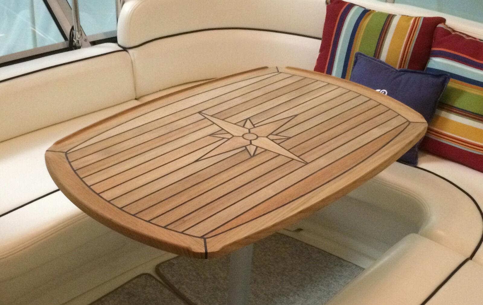 Teak Table - Nautic Star  Half Ellipes   Three Sizes Available Boat Yacht Marine