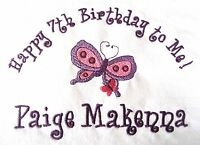 Personalized Custom Made Butterfly Name Or Birthday Girls T Shirt