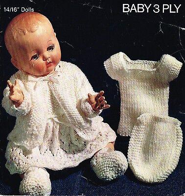 "Laminated  copy. V Doll 35 Dolls clothes knitting pattern.14/"" doll"