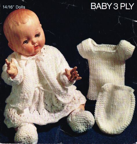 """Laminated copy. V Doll 56 Dolls clothes knitting pattern for 14/""""-16/"""" doll"""