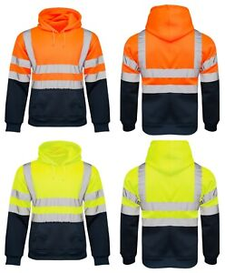 Trempé Homme 2 Tone No Zip Hi Vis Sweat Tape Bande Pull Over Sécurité Hoody-afficher Le Titre D'origine