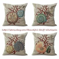 Us Seller-4pcs Cushion Covers Marine Coral Shells Wholesale Decor Pillows