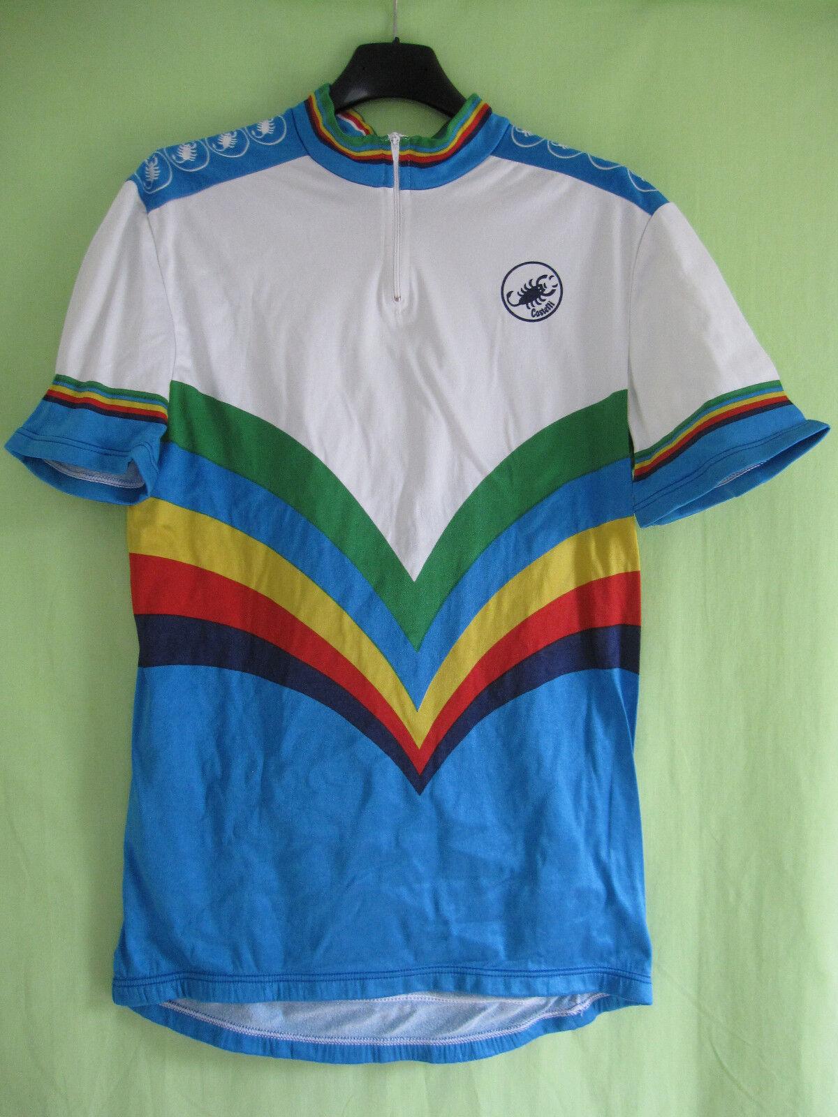 Maillot cycliste vintage Castelli color Champion du Monde 80'S Jersey - 5   L
